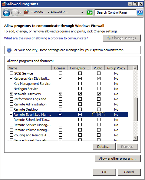 Enabling firewall permissions manually on Windows® clients