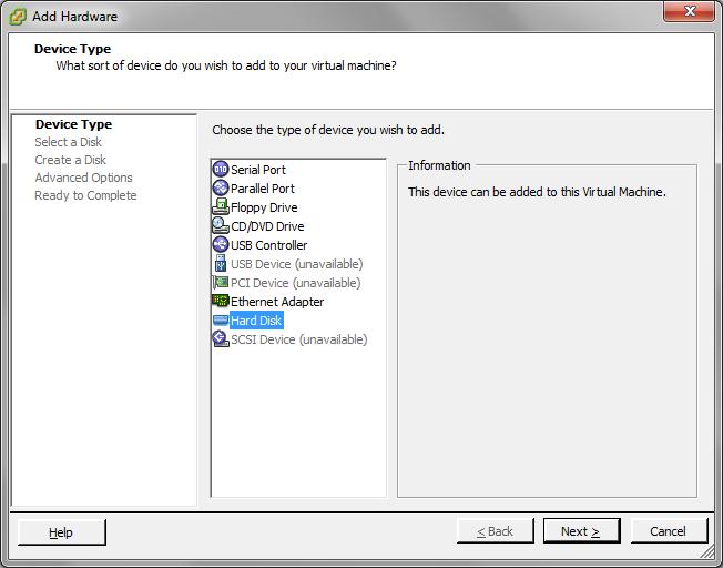 Add Storage to the VMware Virtual Machine