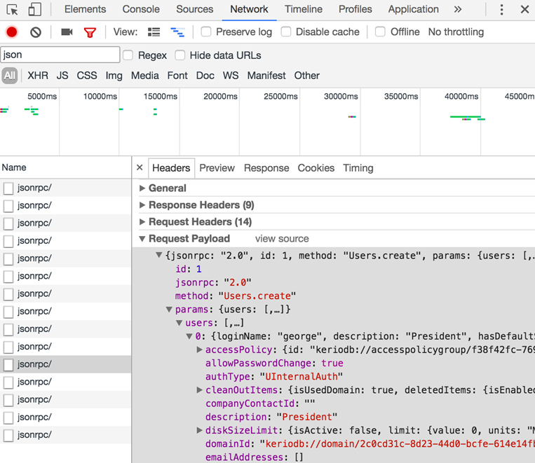 Inspecting Kerio Connect API communication in a web browser