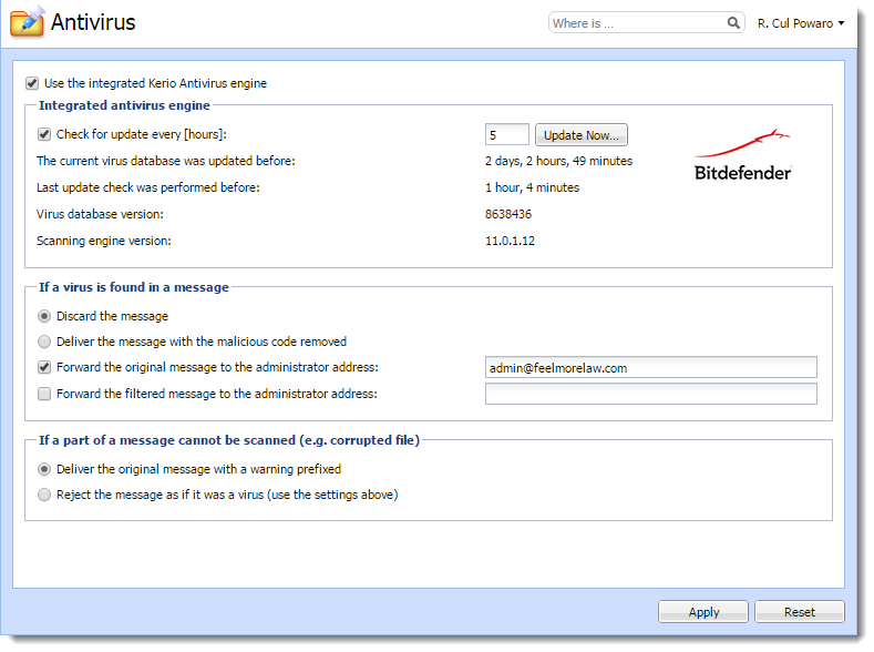 Antivirus protection in Kerio Connect