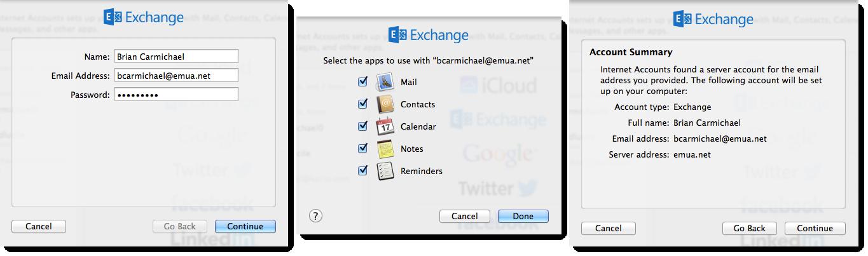 Configuring a Microsoft Exchange Internet account on Mac OS X