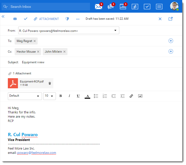Sending emails in Kerio Connect Client