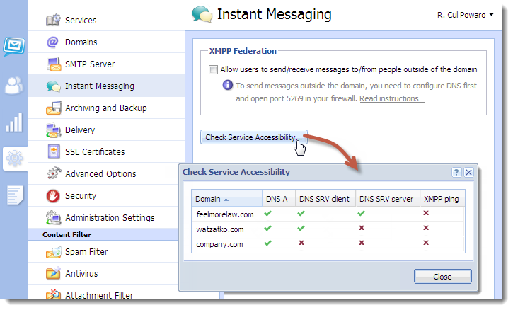 Configuring instant messaging in Kerio Connect