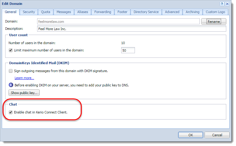 Enabling chat in Kerio Connect Client