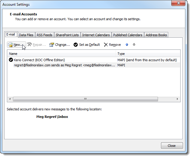 Adding multiple accounts in a single profile in Microsoft Outlook