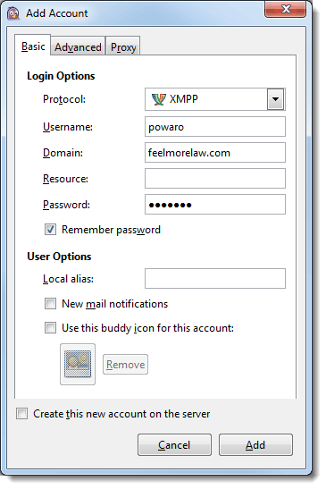 Configuring clients for instant messaging