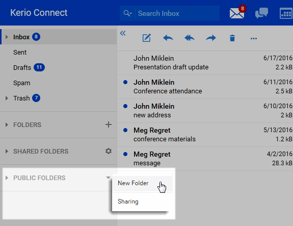 Public folders in Kerio Connect