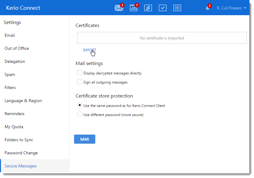 Importing Personal Certificates To Kerio Connect Client
