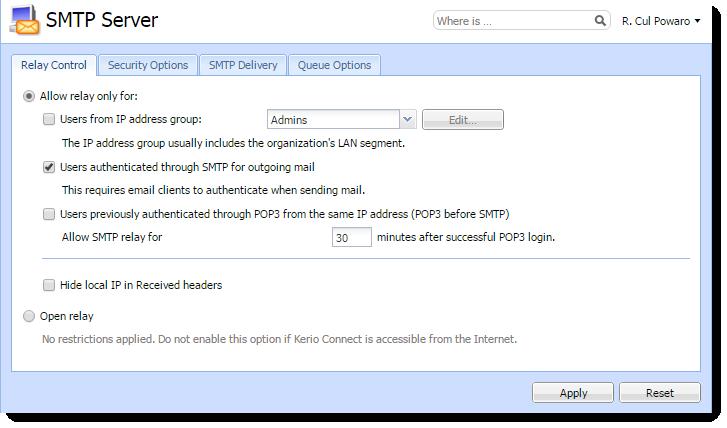 Configuring the SMTP server