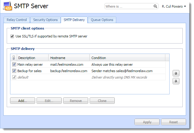 Configuring the SMTP server