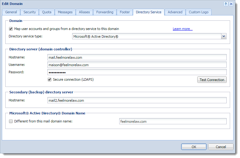Connecting Kerio Connect to directory service