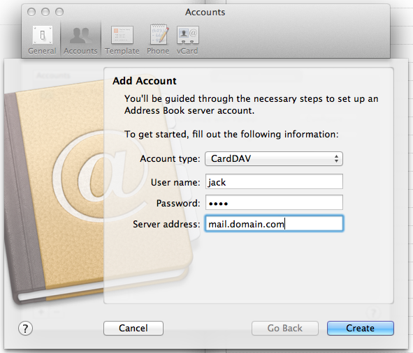 How to manually create a CardDAV account in Apple Address Book – Address Book Example