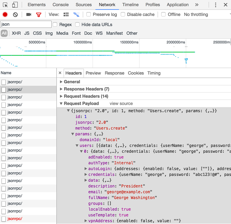 Inspecting Kerio Control API communication in a web browser