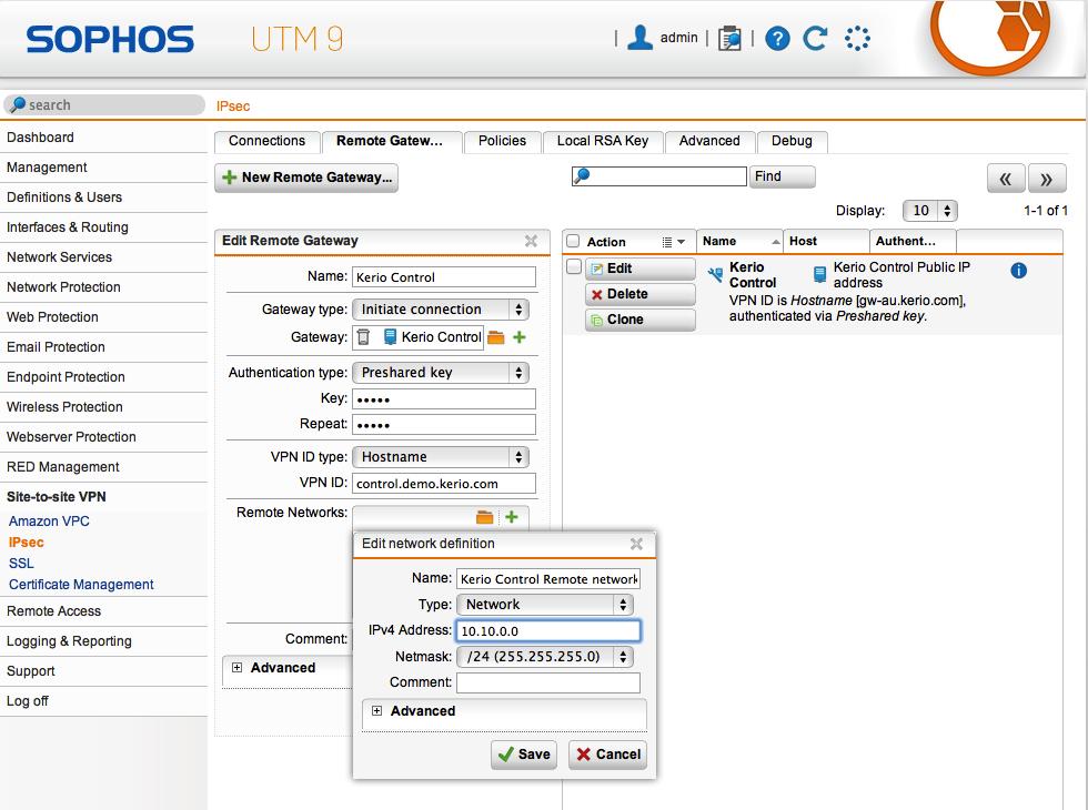 Configuring IPsec VPN tunnel with Astaro