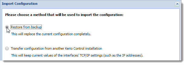 Migrating configuration from one Kerio Control hardware