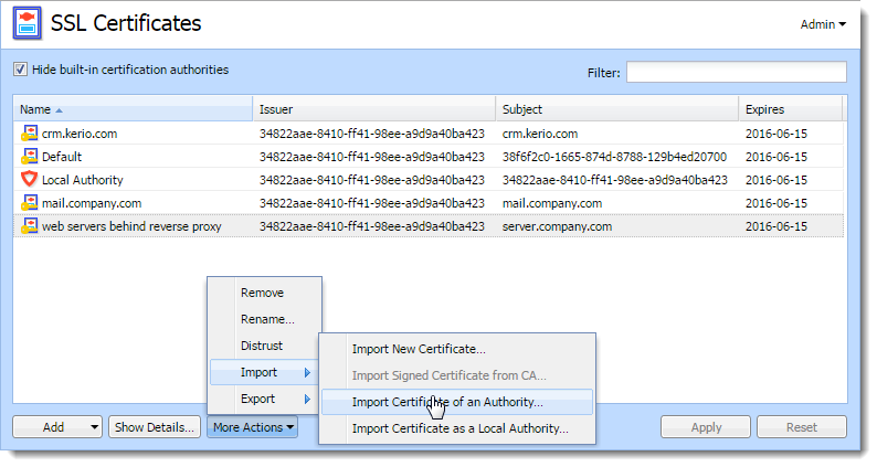 Configuring Ssl Certificates In Kerio Control