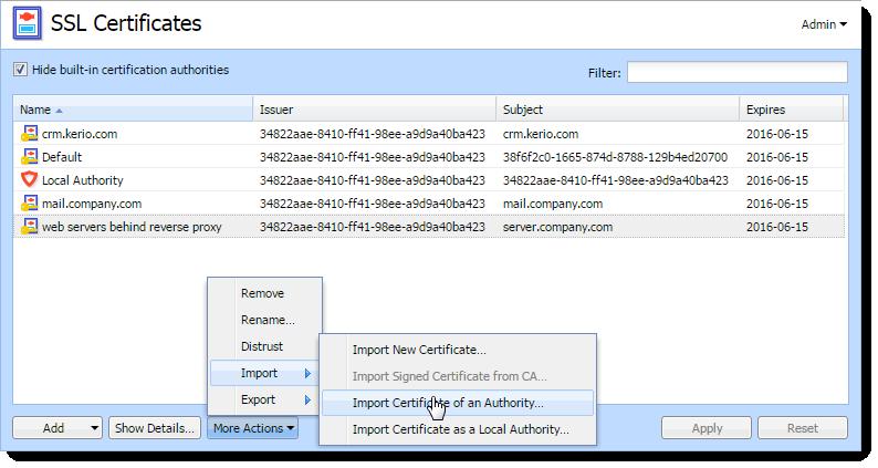 Configuring SSL certificates in Kerio Control