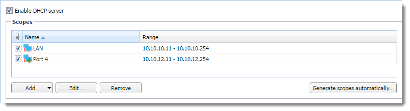 DHCP server in Kerio Control