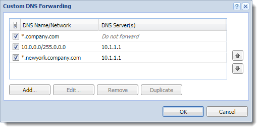 DNS forwarding service in Kerio Control