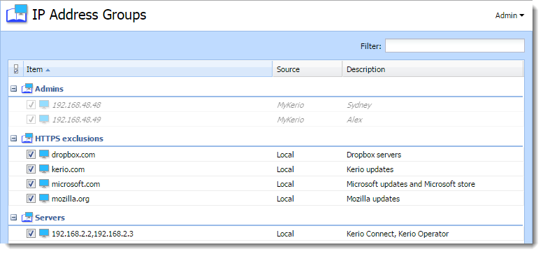 Configuring IP address groups