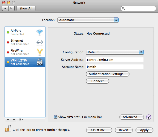 Configuring IPsec VPN client on Apple OS X