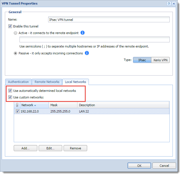 Configuring IPsec VPN tunnel