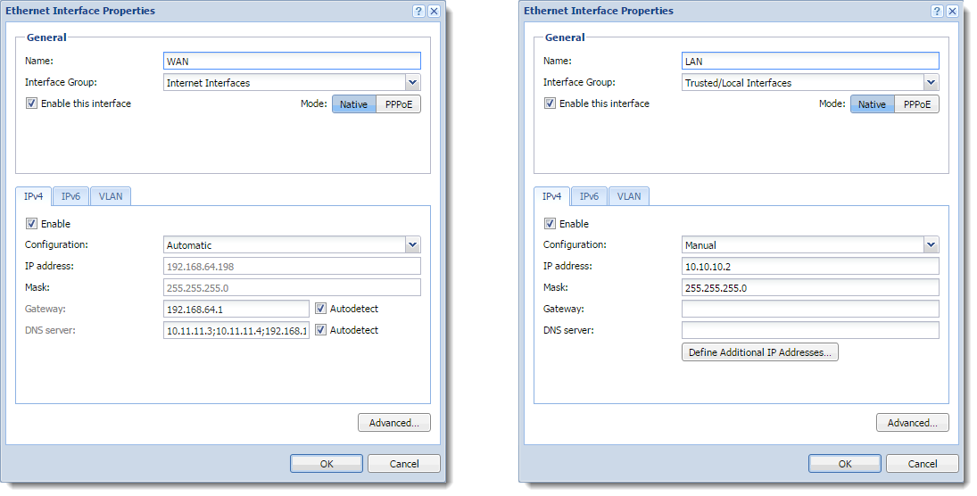 Configuring TCP/IP settings in Kerio Control interfaces