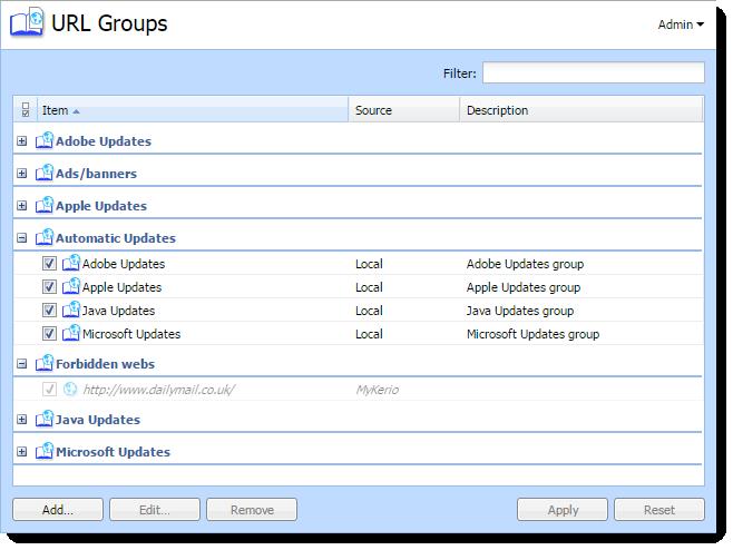 Configuring URL groups