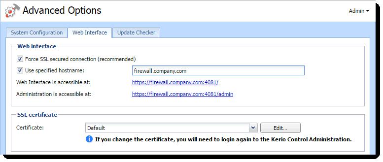 Configuring the Kerio Control web interface