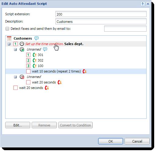 Configuring auto attendant scripts