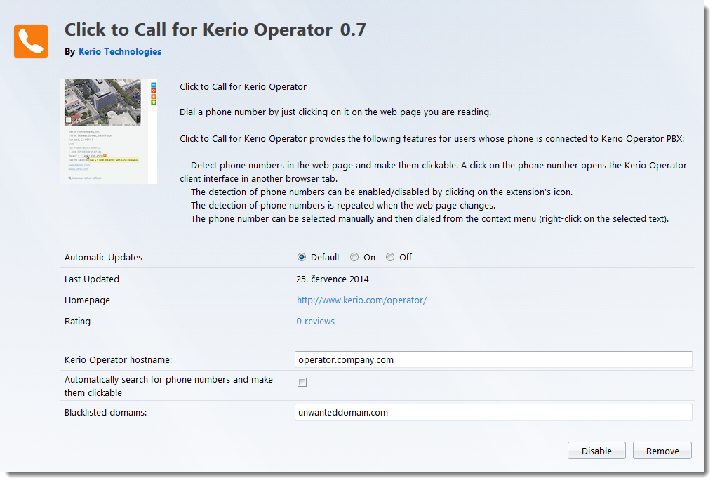 Using Click to Call for Kerio Operator plugin for Chrome and