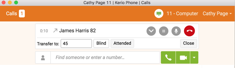 transferring and parking calls using kerio phone