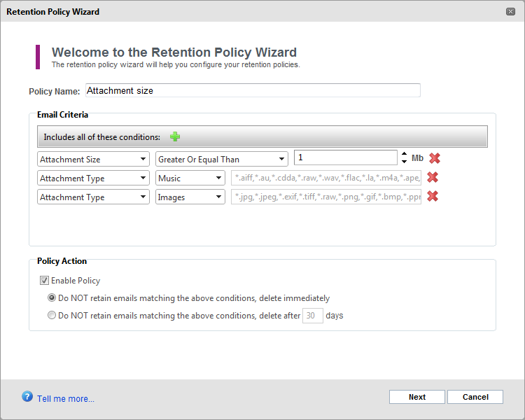 Adding a new Retention Policy