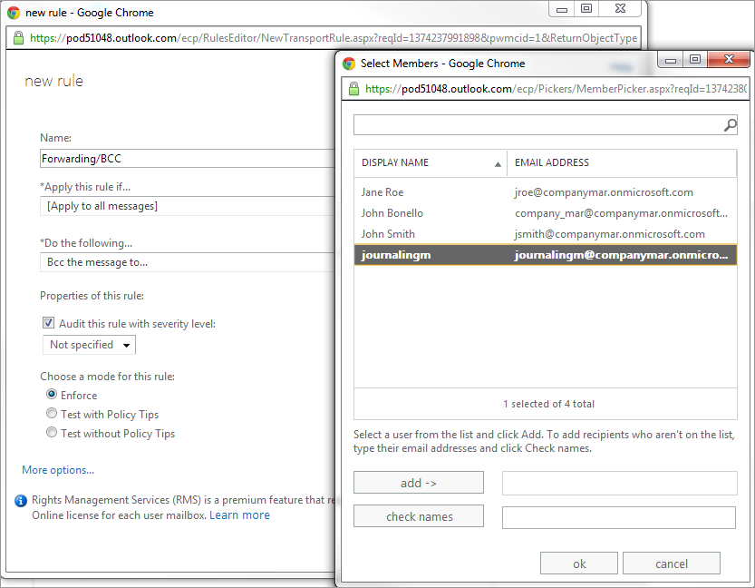 Step 2: Configuring Forwarding Rule in Microsoft Office 365
