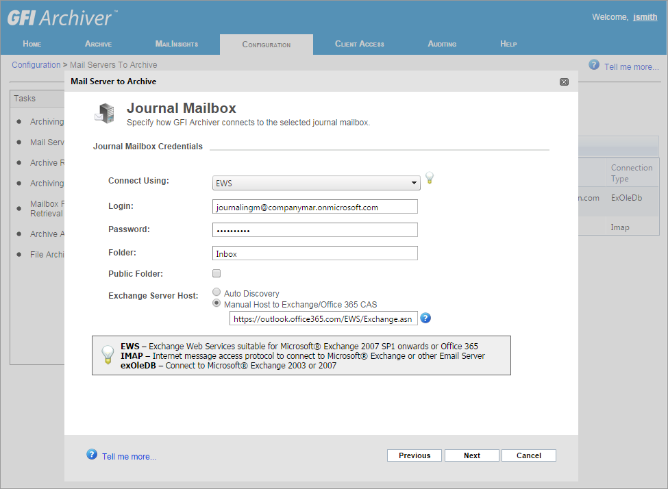 Step 5: Configuring a new Mail Server to Archive in GFI