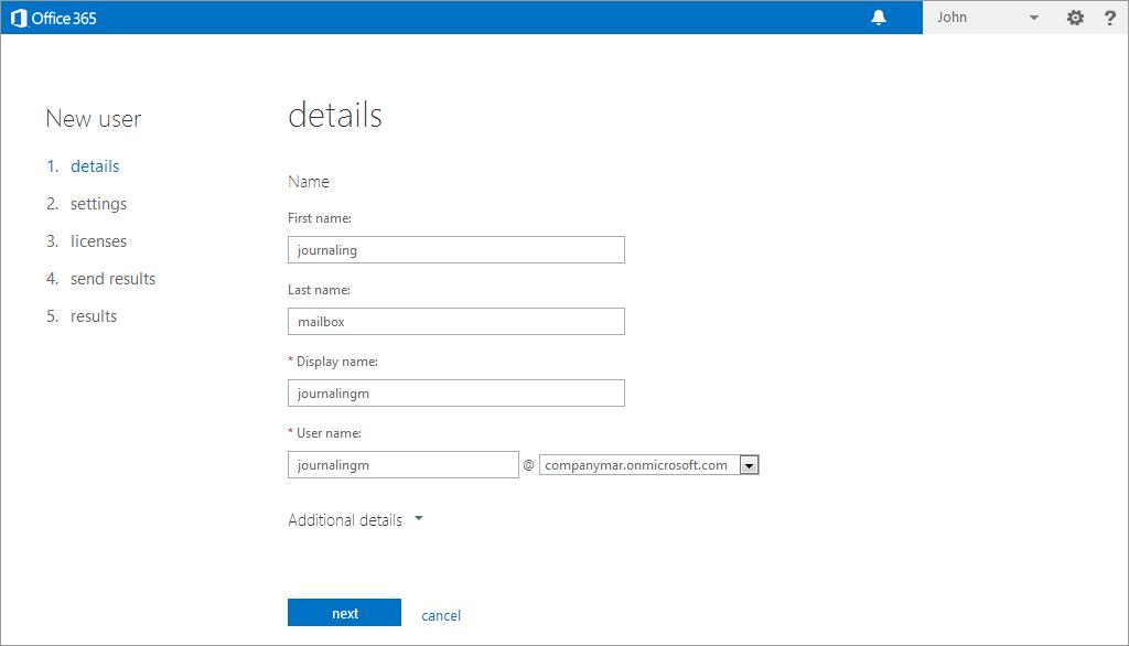 Setting up a Microsoft Office 365 Journaling Mailbox